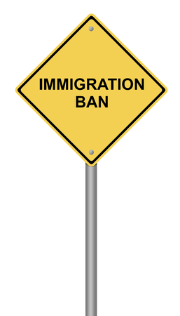 Yellow warning sign with the text Immigration Ban. Stock Photo