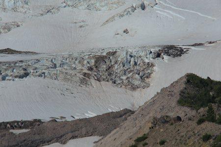 Lower icefall on Eliot Glacier, Mount Hood, Oregon showing crevasses on the glacier.