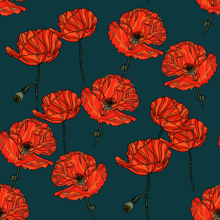 Seamless floral pattern with poppy flowers on dark background. Vector illustration. Typography design elements for prints, cards, posters, products packaging, branding.
