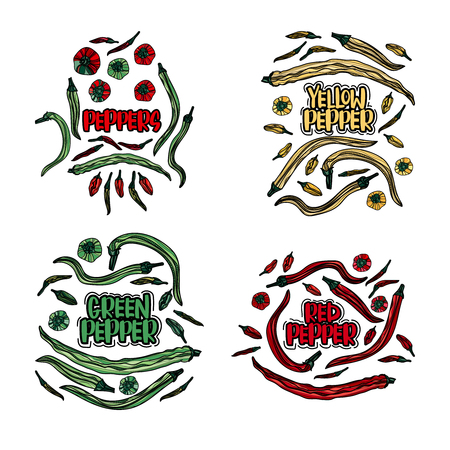 Green, red and yellow peppers design illustration art prints. Illustration
