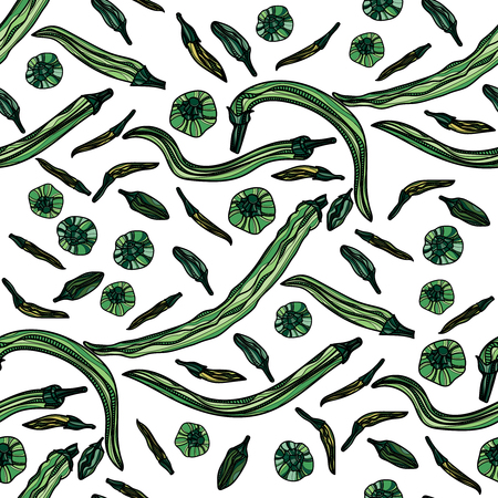 Seamless pattern with green peppers. Vector illustration. Typography design elements for prints, cards, posters, products packaging, branding.