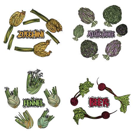 Color vegetables set on white background, vector illustration.