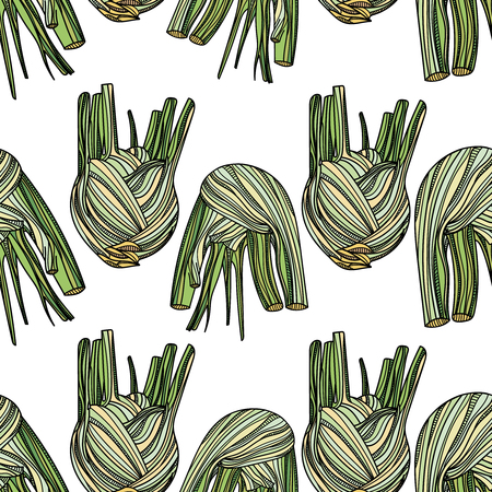 Seamless pattern with fennel on white background. Vector illustration. Typography design elements for prints, cards, posters, products packaging, branding.