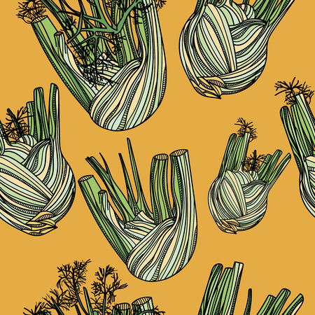 Seamless pattern with fennel on yellow background. Vector illustration. Typography design elements for prints, cards, posters, products packaging, branding.
