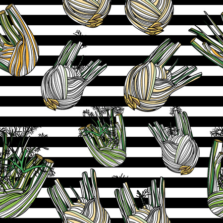 Seamless pattern with fennel on striped background. Typography design elements for prints, cards, posters, products packaging and branding.