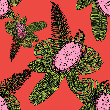 Seamless pattern with dragon fruit or pitaya and tropical leaves on red background.