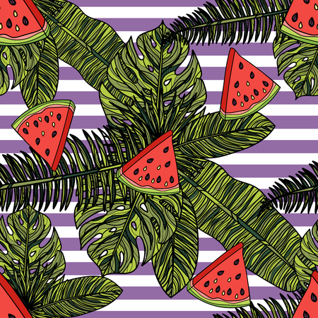 Seamless pattern with watermelon, tropical leaves and violet stripes, vector illustration.