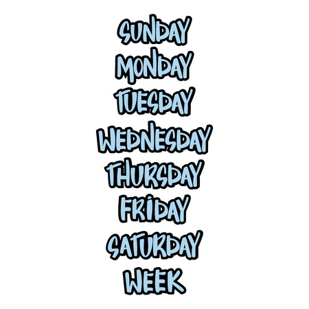 Vector typographic illustration of handwritten days of the week: monday, tuesday, wednesday, thursday, friday, saturday, sunday.