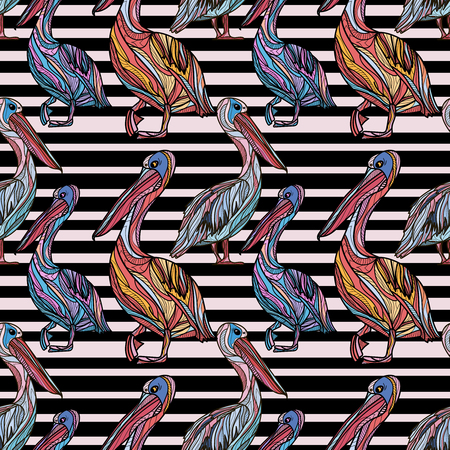 Seamless pattern with pelicans and black stripes. Vector illustration.