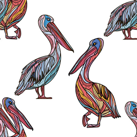Seamless pattern with pelicans on white background. Vector illustration. Ilustração