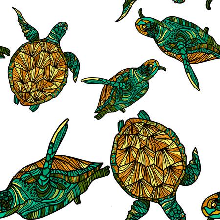 흰색 배경에 거북이와 원활한 패턴입니다. 벡터 일러스트 레이 션.