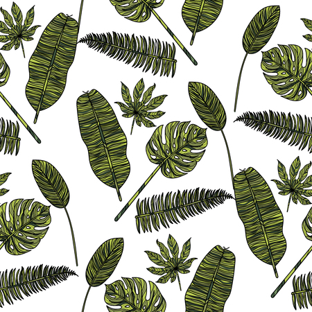 Seamless pattern with tropical leaves on white background. Vector illustration. Иллюстрация