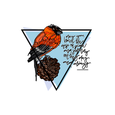 Christmas winter greeting card with Bullfinch on pine cone. Hand drawn lettering - May you have the gift of peace and serenity on this day and always Vector illustration.
