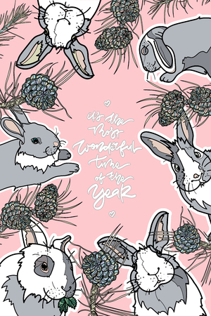 Cute card with rabbit and hand drawn lettering, Its the most wonderful time of the year Vector illustration. Typography design elements for prints, cards, posters, products packaging, branding.