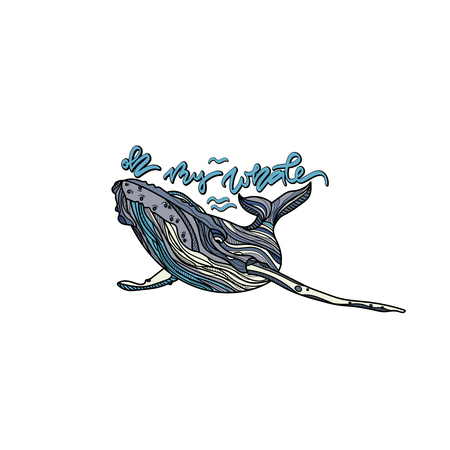 Oh My Whale, Blue whale with hand drawn caption for prints, cards, posters, products packaging, branding.