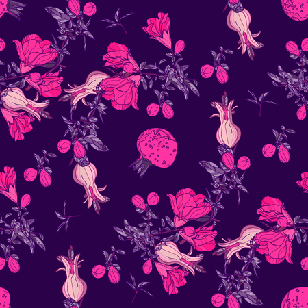 Seamless pattern with pomegranate fruit,flowers and branches on ultraviolet background. Vector illustration.