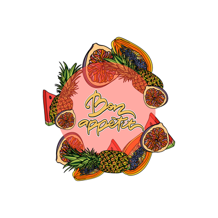 Bon appetit hand drawn lettering. Vector illustration. Round circle composition. Fig, papaya, watermelon, pineapple.