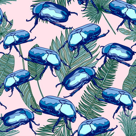 Pattern with blue scarab bugs and leaves on pink backdrop Vector illustration.