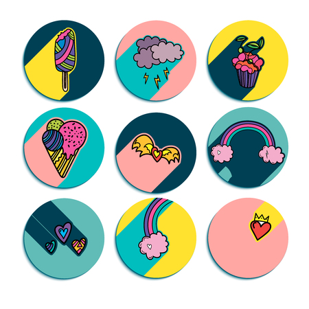 Design of summer round logos with hand drawn cute lovely design elements. Ice cream, hurts, cloud, rainbow, cake. Vector illustration.  イラスト・ベクター素材