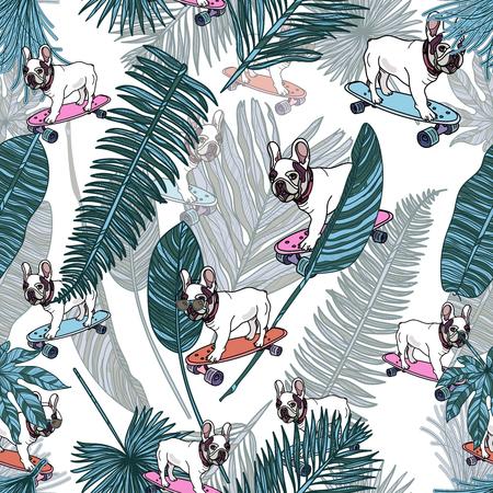 Bouledogue français sur planche à roulettes et feuilles tropicales sur modèle sans couture de fond blanc. Illustration vectorielle.