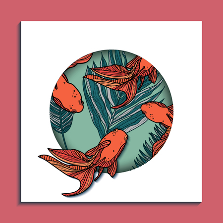 Trendy summer card with tropical leaves and golden fishes. Banner, A4, card design. Vector hand drawn illustration. Illustration