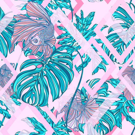 Seamless pattern with tropical leaves and big tail fishes on geometry shapes background. Vector illustration. Typography design elements for prints, cards, posters, products packaging, branding.