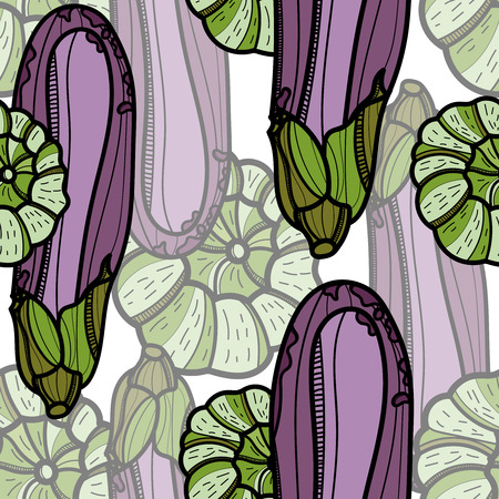Aubergine and Pattypan squash seamless pattern on white background. Vector illustration for ads, menu and web banner designs. Organic and healthy food concept. Vetores