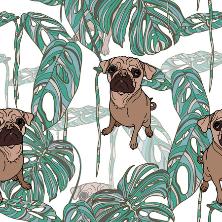 Pug and tropical leaves  on white background seamless pattern. Vector illustration.