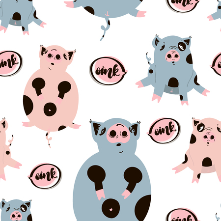 Fat cute pig seamless pattern. Flat hand drawn vector character. Sketch piggy with handwritten text in speech bubble - oink. Cartoon illustration on white background.