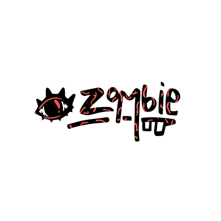 Card with zombie eye and handwritten lettering - zombie. Vector illustration for print and web projects, cards, posters, logos, products packaging. Ilustração