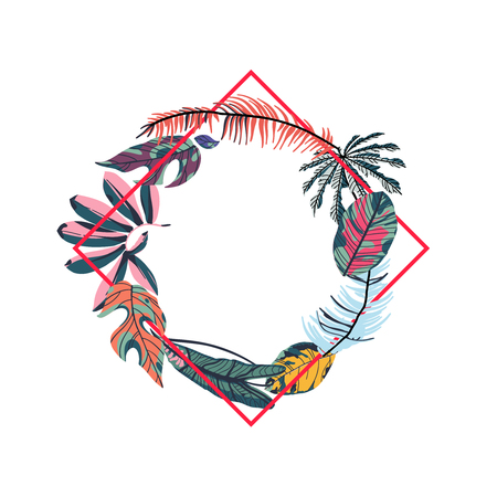 Tropical leaves and geometry shape. Round frame. Trendy vector illustration.
