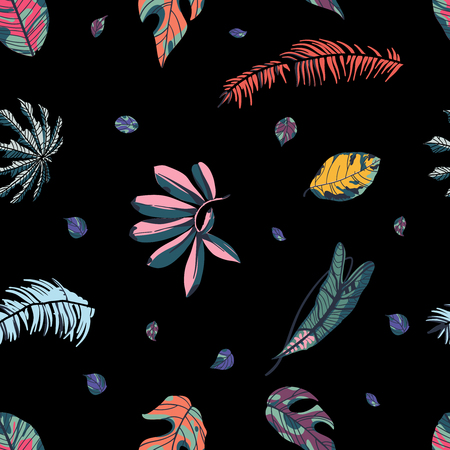 Tropical palm leaves, jungle leaf seamless pattern on black background.  Vector illustration in trendy style. Ilustração