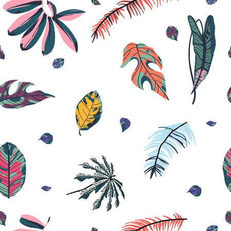 Tropical palm leaves, jungle leaf seamless pattern on white background.  Vector illustration in trendy style.