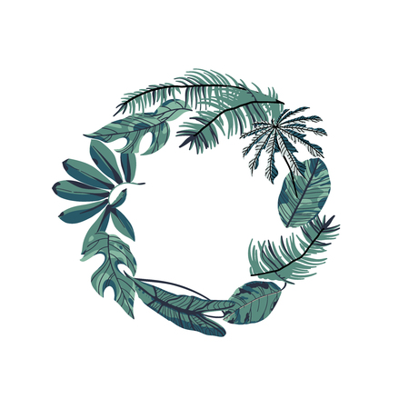 Tropical leaves round frame. Trendy vector illustration. Ilustração