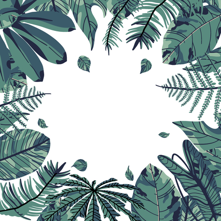 Tropical palm leaves, green jungle leaf isolated on white background. Vector design. Ilustração