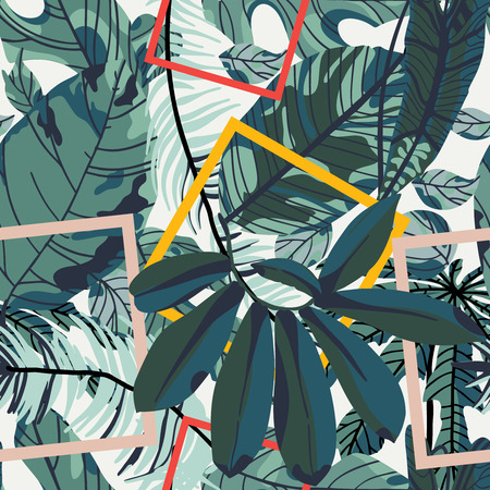 Tropical leaves on geometry shapes background.Beautiful seamless vector pattern background, exotic print. Vector illustration. Ilustração