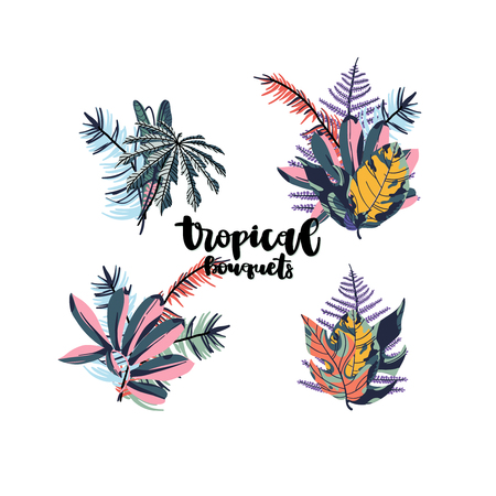 Tropical palm leaves, jungle leaf bouquets isolated on white background. Vector illustration in trendy style. Ilustração