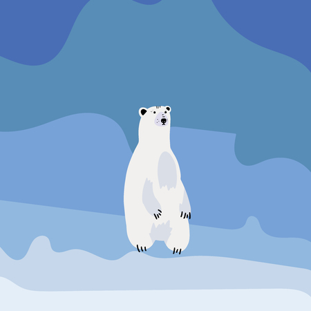 Cute polar bear set. Flat hand drawn vector design with handwritten lettering - polar bear. Isolated cartoon illustration.