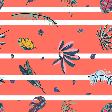 Tropical palm leaves, jungle leaf seamless pattern on  coral background with white stripes. Vector illustration in trendy style. Ilustração