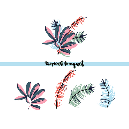 Tropical palm leaves, jungle leaf  bouquet isolated on white background. Vector illustration in trendy style.