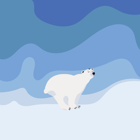 Cute polar bear  on snowy background. Flat hand drawn vector design. Cartoon illustration.