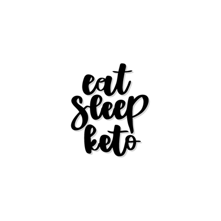 Keto diet hand drawn vector lettering. Eat, sleep, keto quote. Healthy nutrition. Low carb diet collage black lettering. Ketogenic nutrition illustration. Ilustração