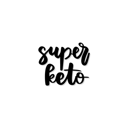 Keto diet hand drawn vector lettering. Super keto quote. Healthy nutrition. Low carb diet collage black lettering. Ketogenic nutrition illustration. Ilustração