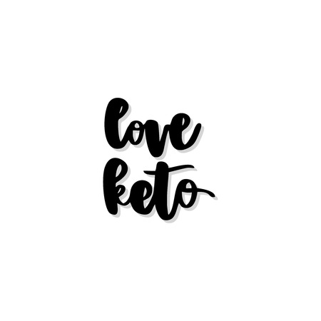Keto diet hand drawn vector lettering. Love keto quote. Healthy nutrition. Low carb diet collage black lettering. Ketogenic nutrition illustration.