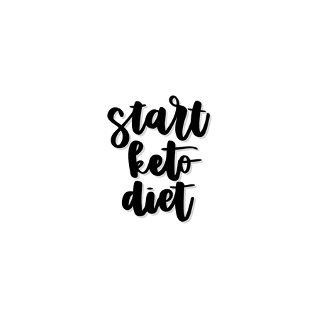 Keto diet hand drawn vector lettering. Start keto diet quote. Healthy nutrition. Low carb diet collage black lettering. Ketogenic nutrition illustration. Ilustração