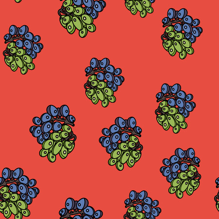 Grape seamless pattern on red background. Vector illustration for ads, menu and web banner designs. Organic and healthy food concept. Ilustração