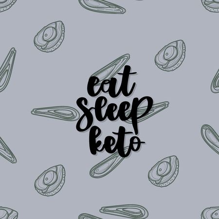 Keto diet hand drawn vector lettering. Eat, sleep, keto quote on avocado background. Healthy nutrition. Low carb diet collage black lettering. Ketogenic nutrition illustration.