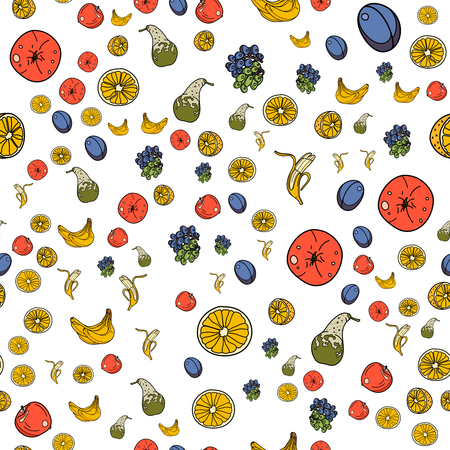 Fruits seamless pattern with orange, banana, apple, pear, grape,plum on white background. Vector illustration for ads, menu and web banner designs. Organic and healthy food concept.