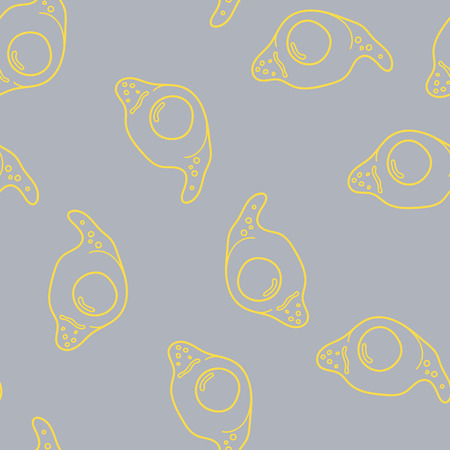 Egg seamless pattern on grey background. Vector illustration for ads, menu and web banner designs. Organic and healthy food concept.