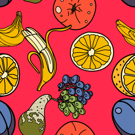 Fruits seamless pattern with orange, banana, apple, pear, grape,plum on red background. Vector illustration for ads, menu and web banner designs. Organic and healthy food concept.